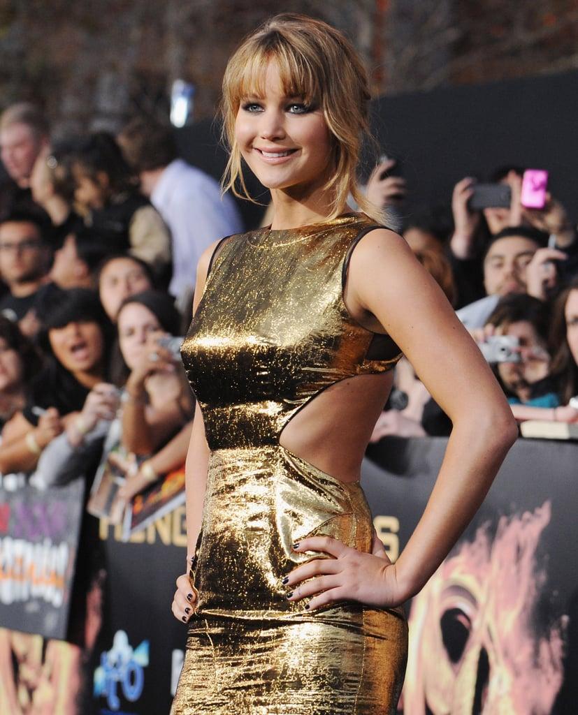 Jennifer Lawrence's Prabal Guring dress showed off her svelte curves.