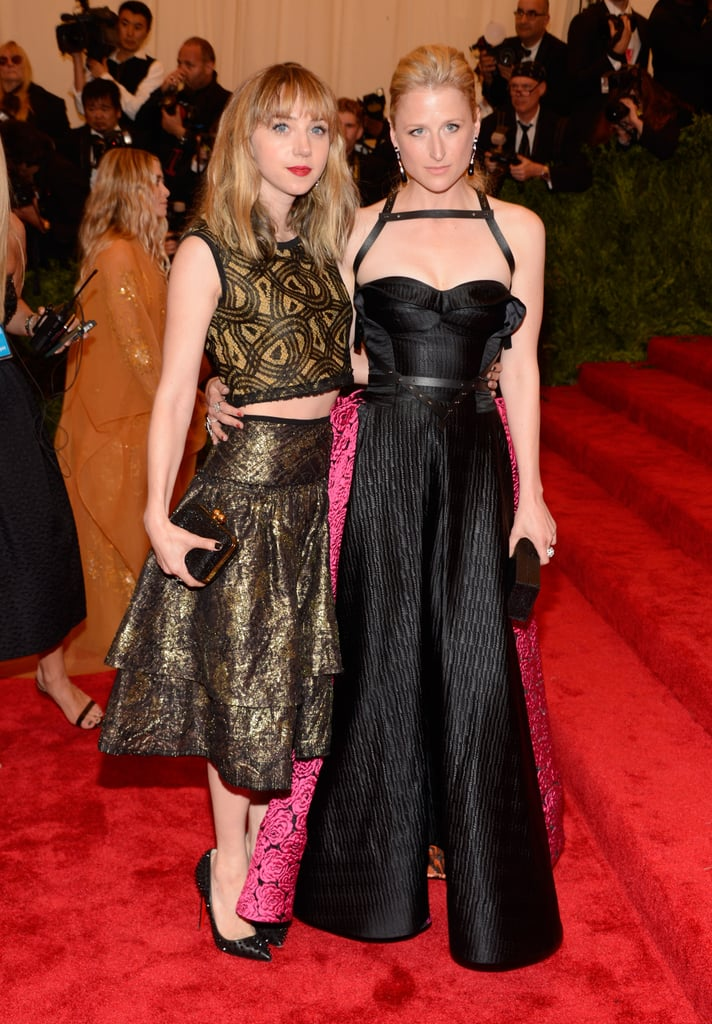 Zoe Kazan and Mamie Gummer stayed side-by-side in their respective takes on the night's theme. Zoe flashed some skin in a two-piece, metallic gold pick while a leather, bondage-style strap gave Mamie's pink and black number some punk cred.