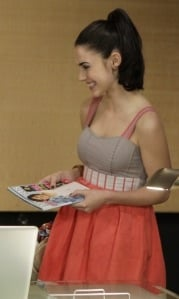 Adrianna Duncan in Colorblock Dress on 90210