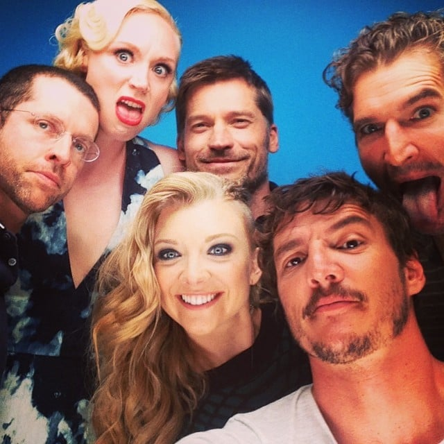 """""""Con shenanigans,"""" Pedro Pascal wrote in the caption for his packed selfie with his Game of Thrones buds, including Gwendoline Christie, Natalie Dormer, and Nikolaj Coster-Waldau. Source: Instagram user pascalispunk"""