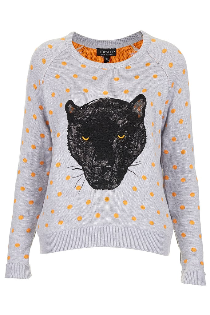 What's not to love about Topshop's polka-dotted panther sweater ($76)?