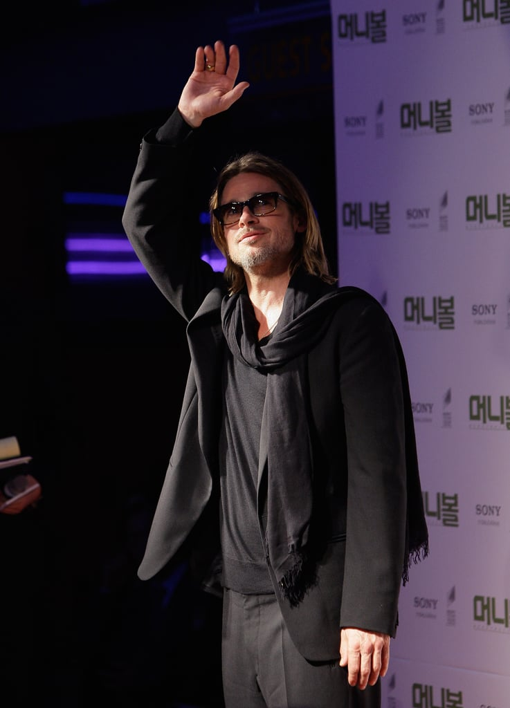 Brad Pitt waved to his fans.