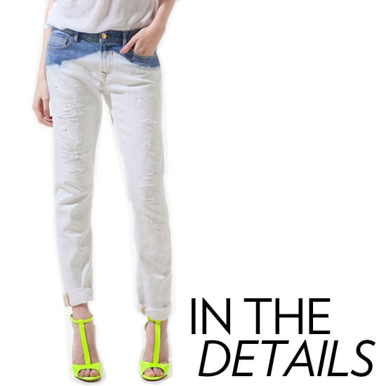 Why we love it: While denim usually is about the cut and shape, these days we're loving a superembellished silhouette. Think distressed beyond belief, studded at the pockets, cool-girl zipper details, and lots of metallic sheen. A well-executed detail-enhanced jean is all you need to make a serious statement. How to wear it: Just like you would with bold costume jewelry or an outstanding pair of heels, you have to let your embellished jeans speak for themselves. Thus, not much is needed in the styling department. A neutral t-shirt, a darker complement, or if you're feeling a bit riskier, a bright sandal should do the trick.