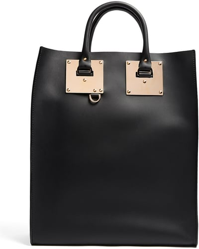 Sophie Hulme Black Large Structured Leather Tote Bag