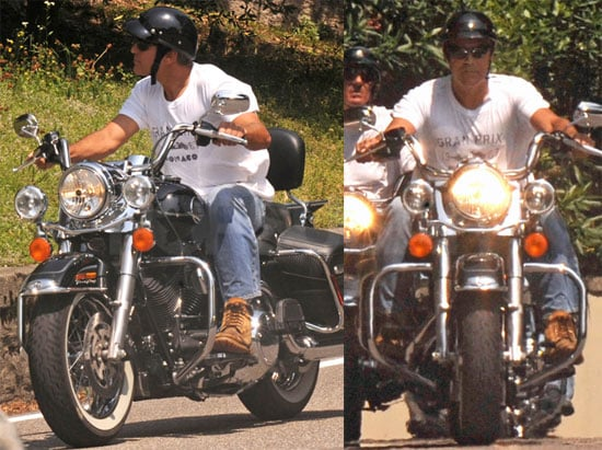 Pictures of George Clooney Riding His Motorcycle in Italy