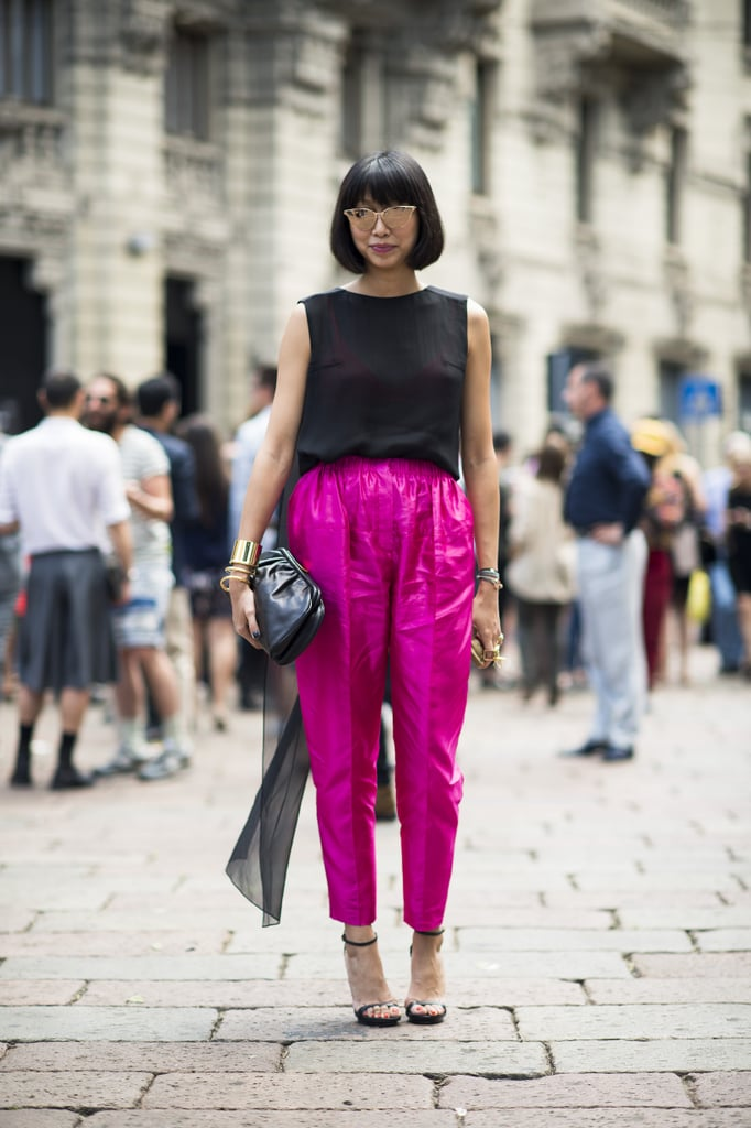 This showstopping style was all about the pants — though her dramatic shades only added to the statement-making effect. Source: Le 21ème | Adam Katz Sinding