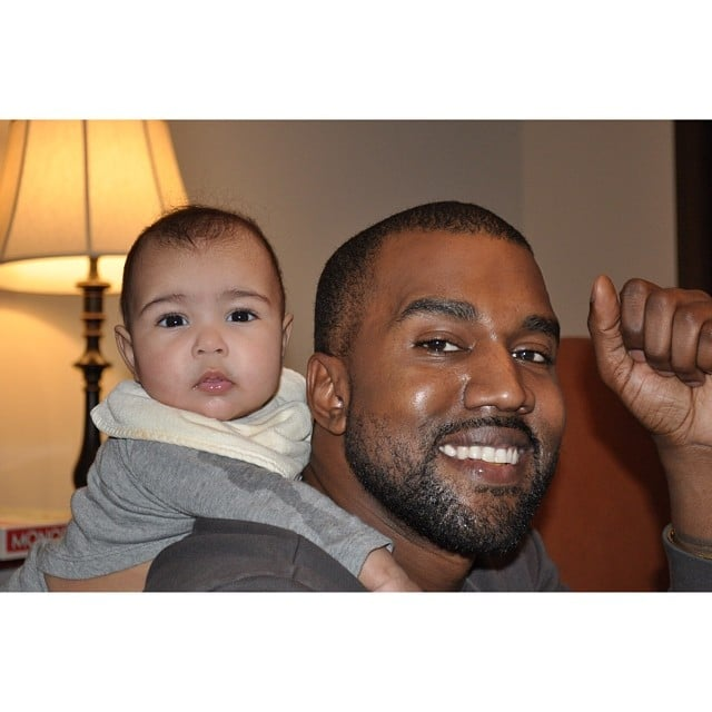 Kim debuted this photo of North and Kanye on The Ellen DeGeneres Show.
