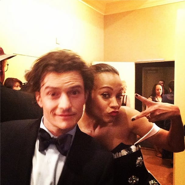 Zoe Saldana shared the love and the camera with Orlando Bloom after they presented at the Golden Globes. Source: Instagram user goldenglobes