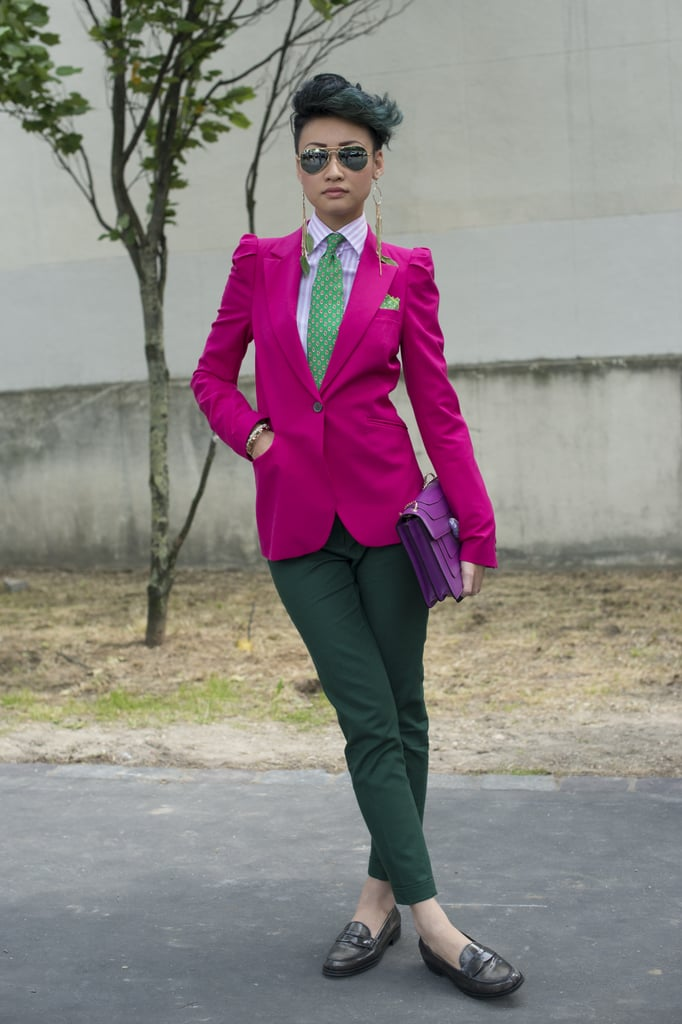 Take tailored pieces from the boys and put a feminine spin on them with a bold fuchsia.