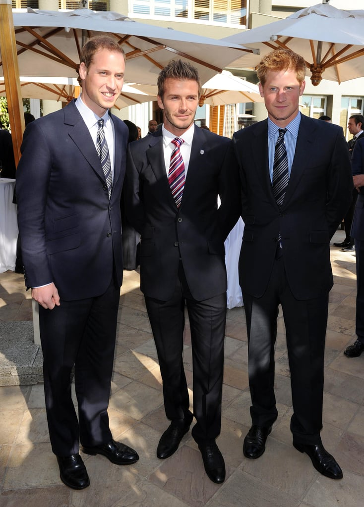 David Beckham, Prince Harry, and Prince William all posed together in June 2010 in Johannesburg, South Africa, during the FIFA World Cup.