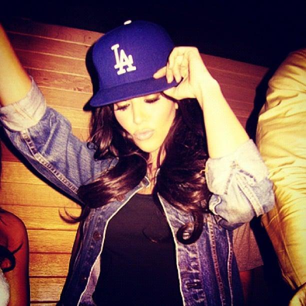 Kim Kardashian showed her LA pride in a blue Dodgers hat. Source: Instagram user kimkardashian