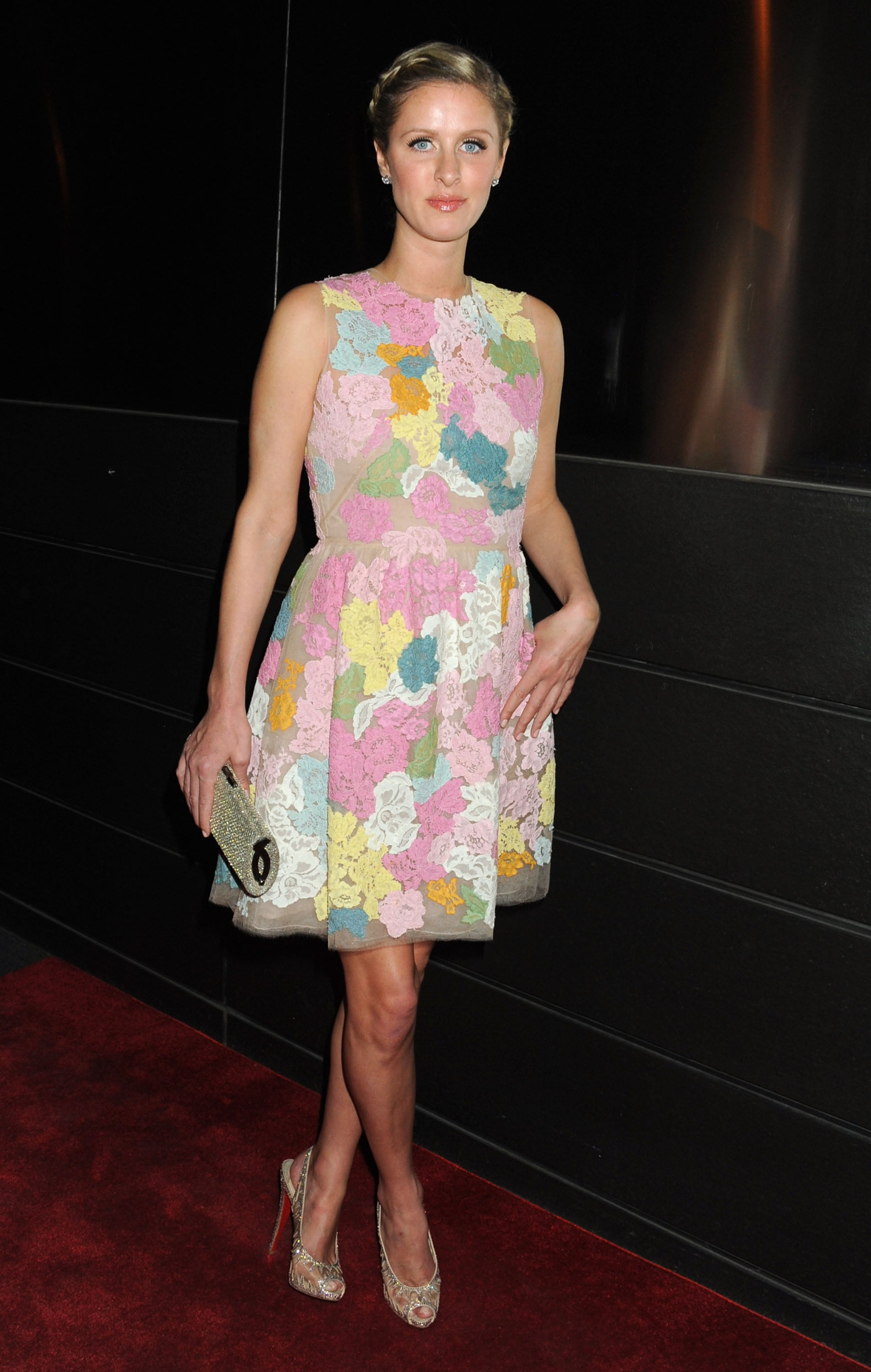 louis vuitton red bottom heels - Nicky Hilton donned a colorful floral dress with peep-toe ...