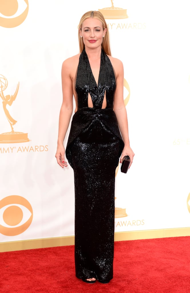 Cat Deeley perfected the sexy vibe in a black-sequined Armani gown.