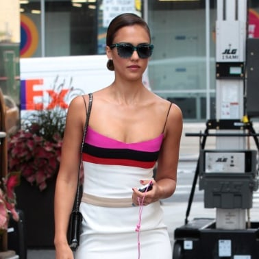 Jessica Alba Wearing Colorblock Dress