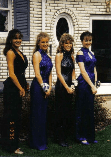 """""""Blue halter gowns with sparkles and matching shoes were all the rage. LOL!""""  — Jaime Richards"""