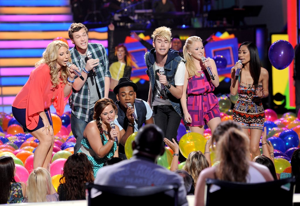 The top seven performed together on stage.