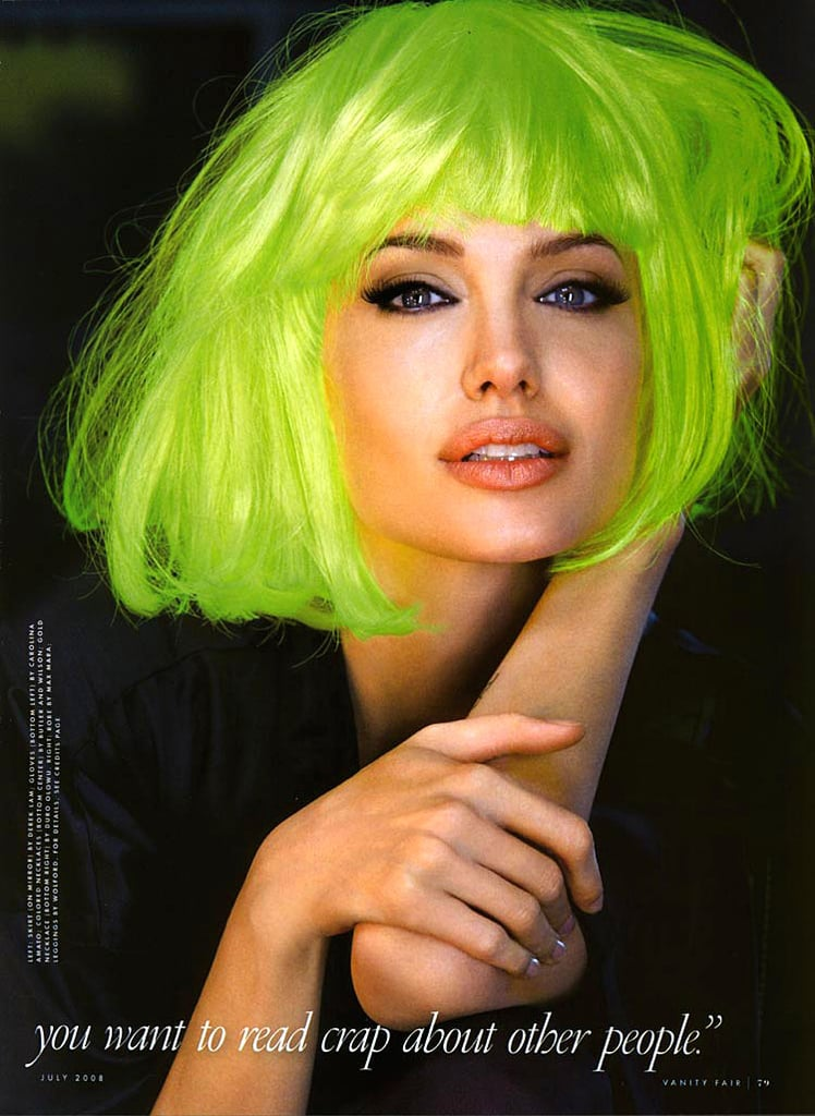 Angelina Jolie transformed with the help of a green wig for her July 2008 Vanity Fair feature.