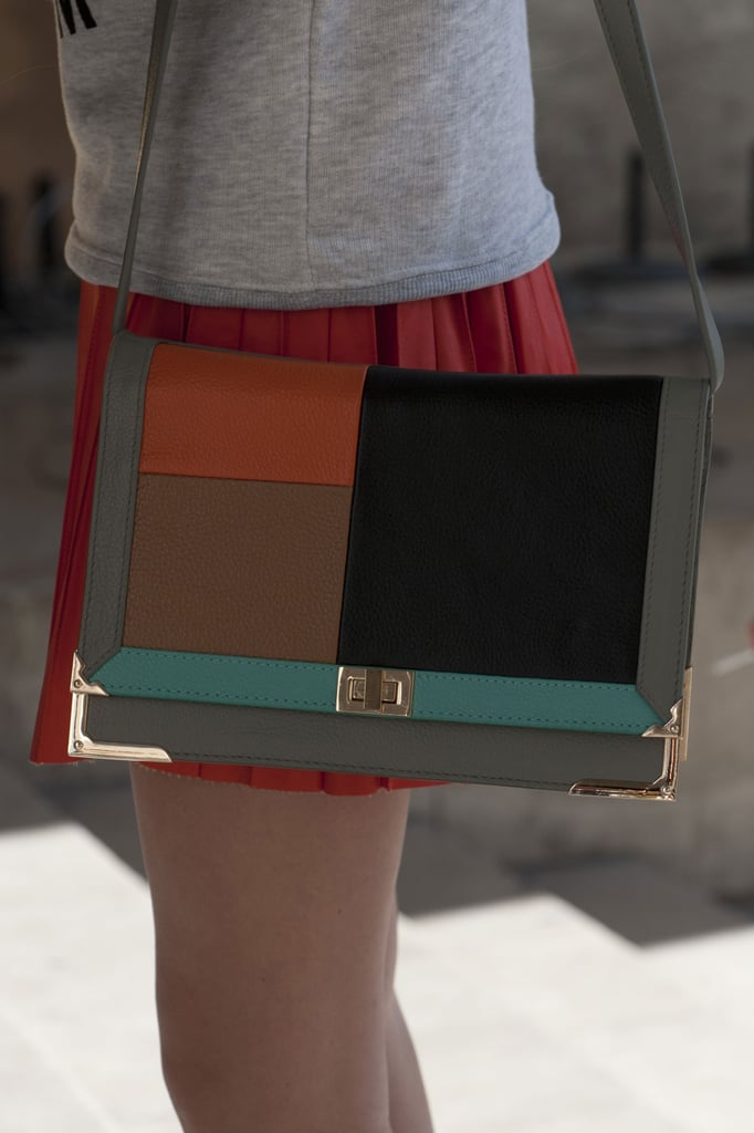 Colorblocking wowed on this classic satchel.