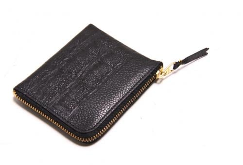 Comme Des Garcons Reptile Embossed Black Partial Zip Wallet ($142)