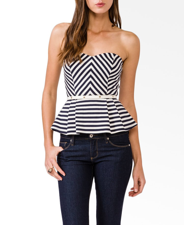 Classic Summer stripes get a dressed-up redux (at an appealing price!) thanks to this Forever 21 Striped Peplum Top ($18).