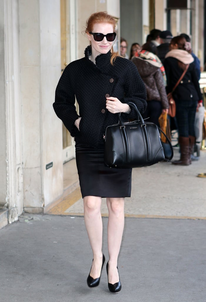 During a chic Parisian stroll, Jessica Chastain's black Givenchy Lucrezia tote meshed flawlessly with her all-black ensemble.