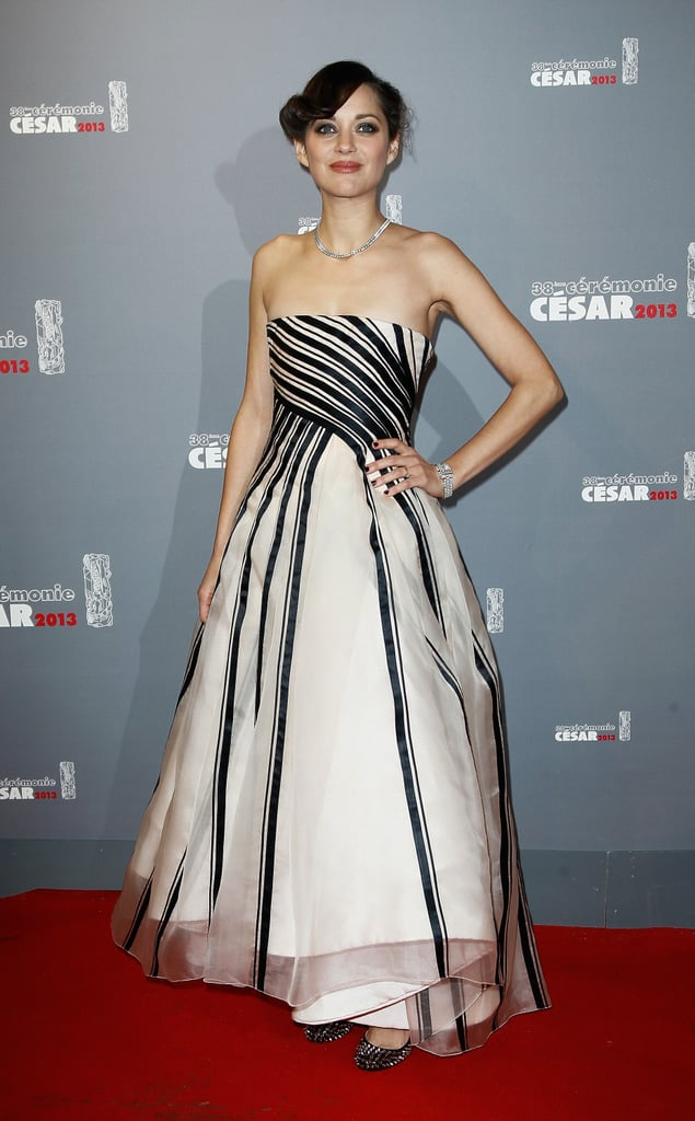 Marion Cotillard had a graphic moment in a black-and-white strapless gown from Christian Dior's Spring 2013 haute couture collection at the 2013 César Awards in Paris.
