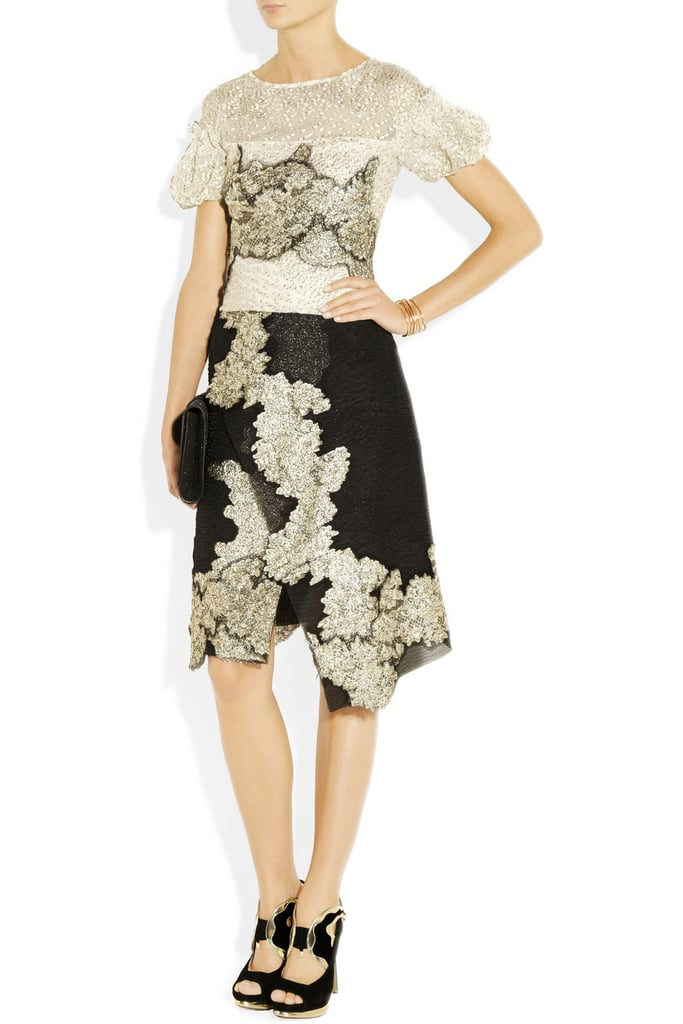 This silk-chiffon dress stopped us in our tracks: if you can only by one special event dress this season, it should be this vintage-inspired stunner. Michael van der Ham Lace-Appliquéd Silk-Blend Chiffon Dress ($1,870)