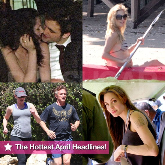 Robert and Kristen's Steamy Kisses, Angelina's New Tattoo, and Kate's Bikini Bump: The Hottest April Headlines!