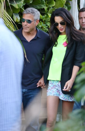 George and Amal Celebrate Their Engagement With Famous Pals