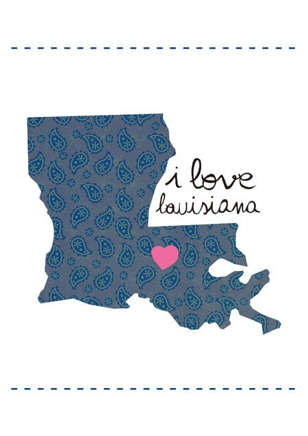 I Love Louisiana Map Illustration