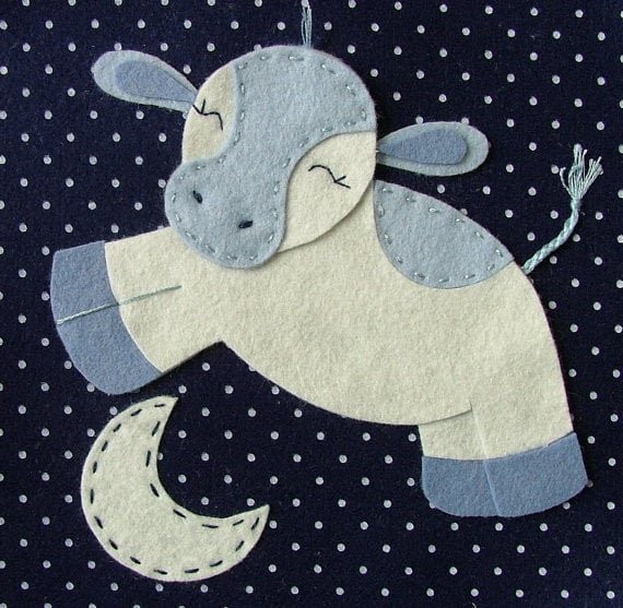 """Jen G. Baby """"Cow Jumped Over the Moon"""" Wall Art ($35)"""