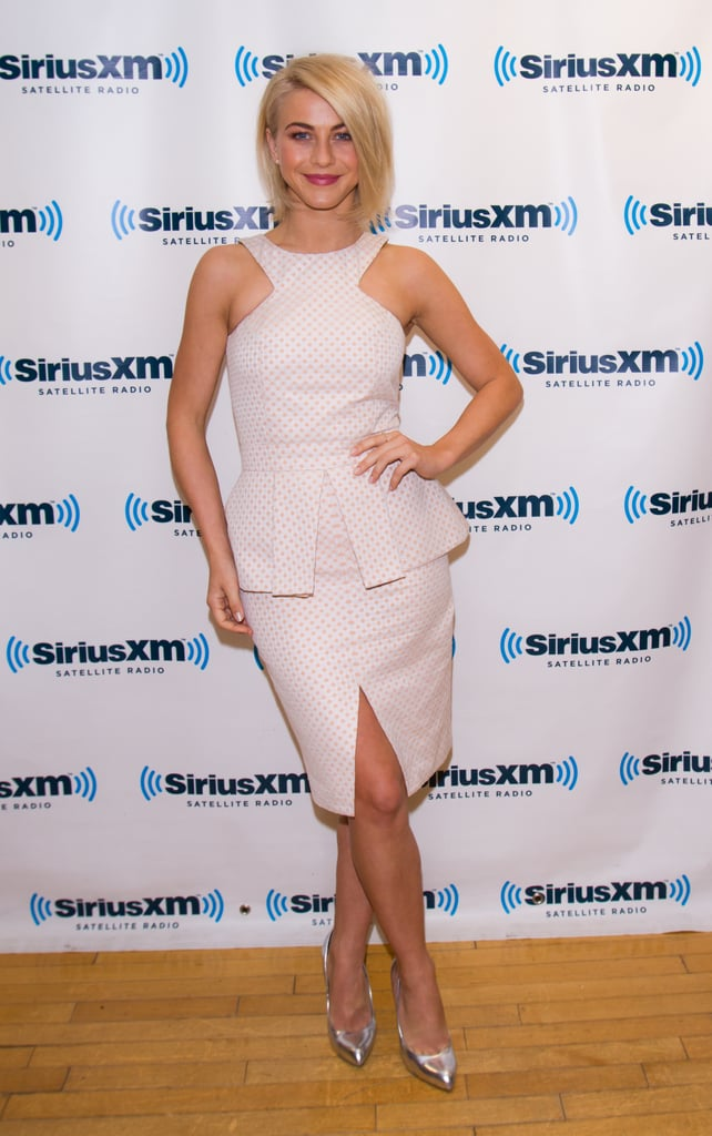 Julianne Hough stopped by the SiriusXM Studios in NYC looking flirty in a polka-dot peplum dress and silver metallic pumps.