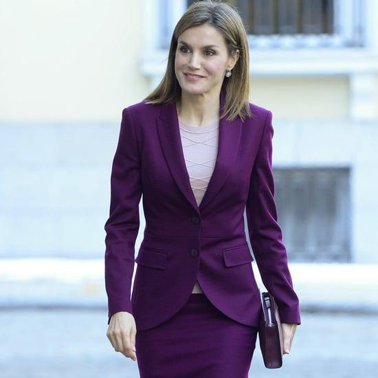 Queen Letizia Wearing a Maroon Skirt Suit
