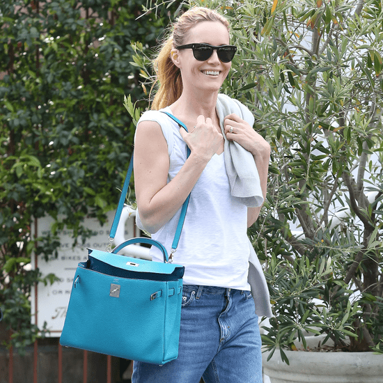 Leslie Mann Carrying Blue Hermes Bag