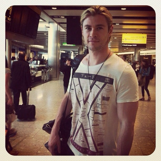 Chris Hemsworth snapped a photo while catching a flight. Source: Instagram user chrishemsworth
