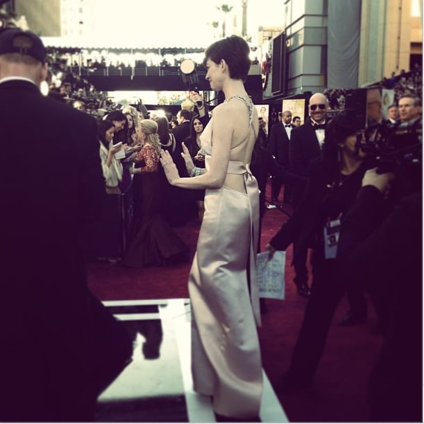 A closer look at the back of Anne Hathaway's Prada dress. Source: Instagram user theacademy