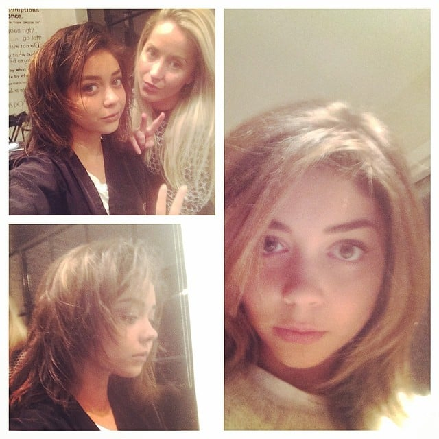 Sarah Hyland took her extensions out and revealed a short, natural 'do. Source: Instagram user therealsarahyland