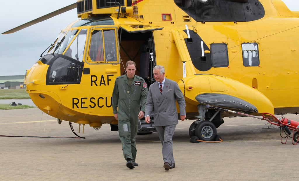 Prince Williams showed Prince Charles his RAF Sea King Rescue helicopter.