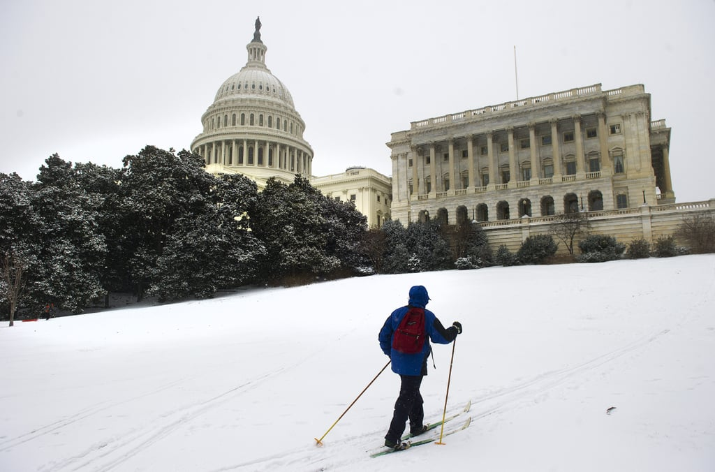 A skier made his way up the hill in Washington DC.