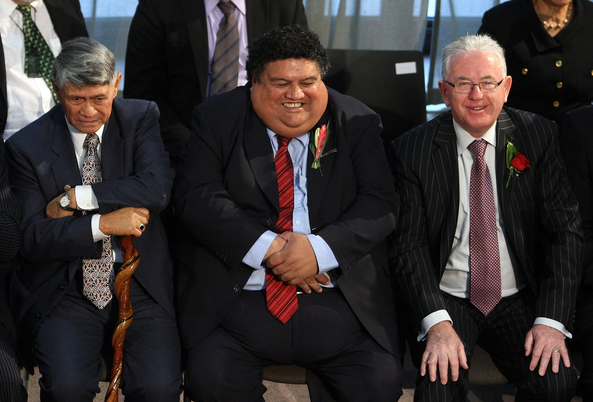 Maori officials wait to sign the historic treaty.