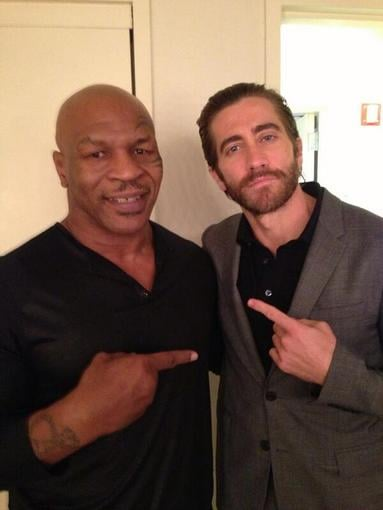 Mike Tyson and Jake Gyllenhaal took photos together backstage before their appearances on Live! With Kelly and Michael. Source: Twitter user MikeTyson