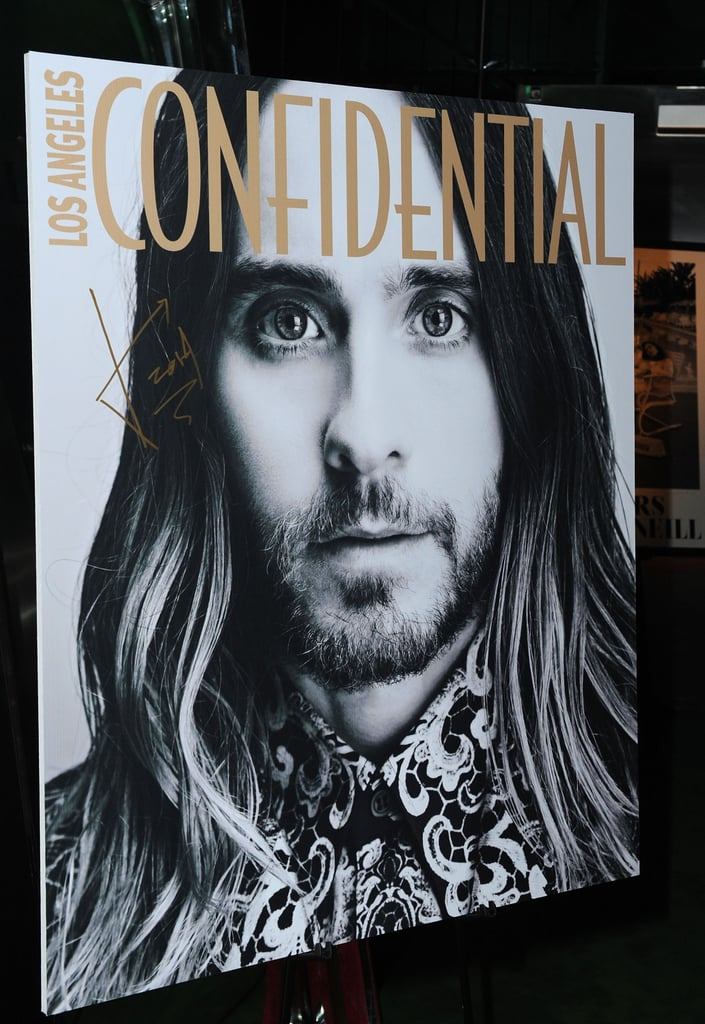 Jared Leto's Los Angeles Confidential cover was on display at the magazine's party on Friday.