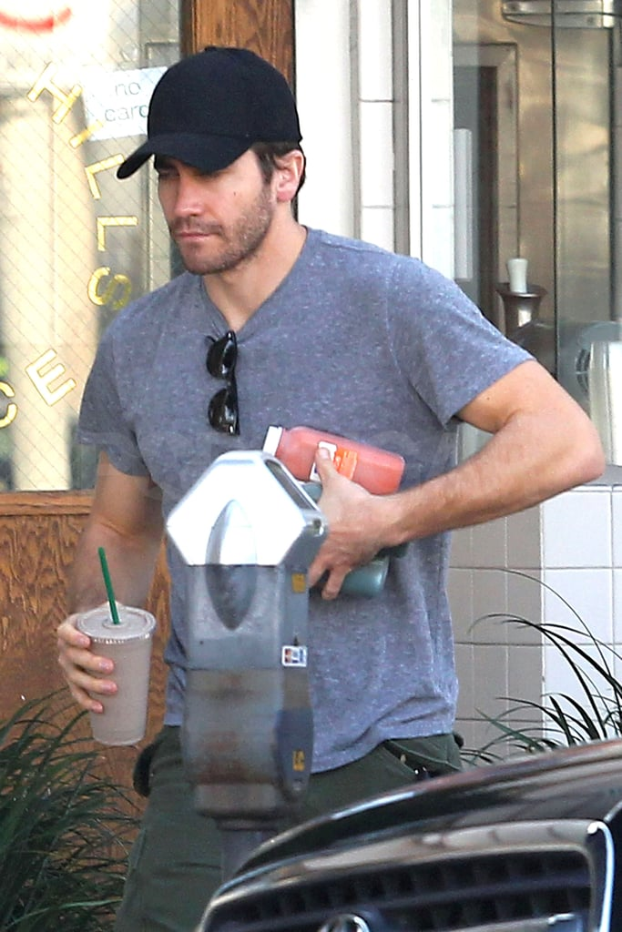 Jake had his hands full leaving Beverly Hills Juice.