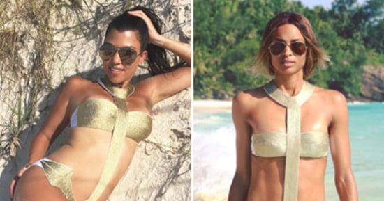 Ciara and Kourtney Kardashian Wear the Same Gold Anchor Monokini: Who Wore It Best?