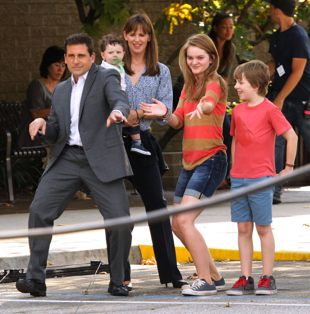 Jennifer Garner and Steve Carell filmed a funny scene on set.