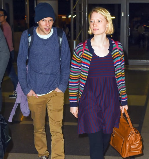 Jesse Eisenberg, Girlfriend Mia Wasikowska Hold Hands, Kiss at LAX: Photos