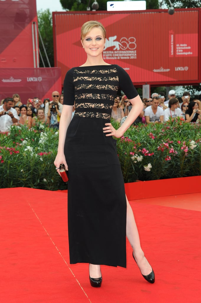 Evan Rachel Wood donned a black lace gown by Alessandra Rich at the Mildred Pierce premiere in Venice.