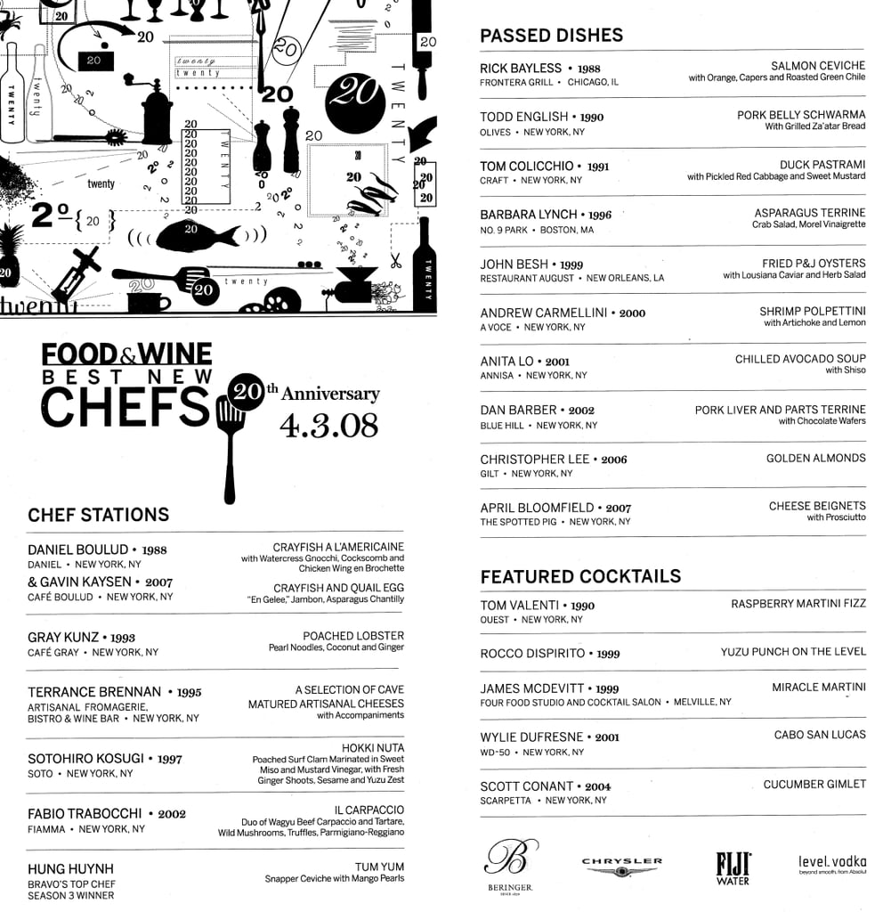 Food and Wine's Best New Chef's Event Menu
