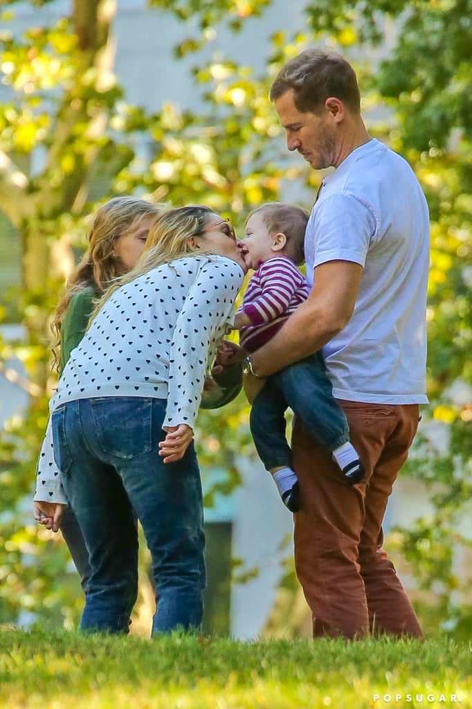 Drew Barrymore planted a kiss on her daughter, Olive Kopelman.