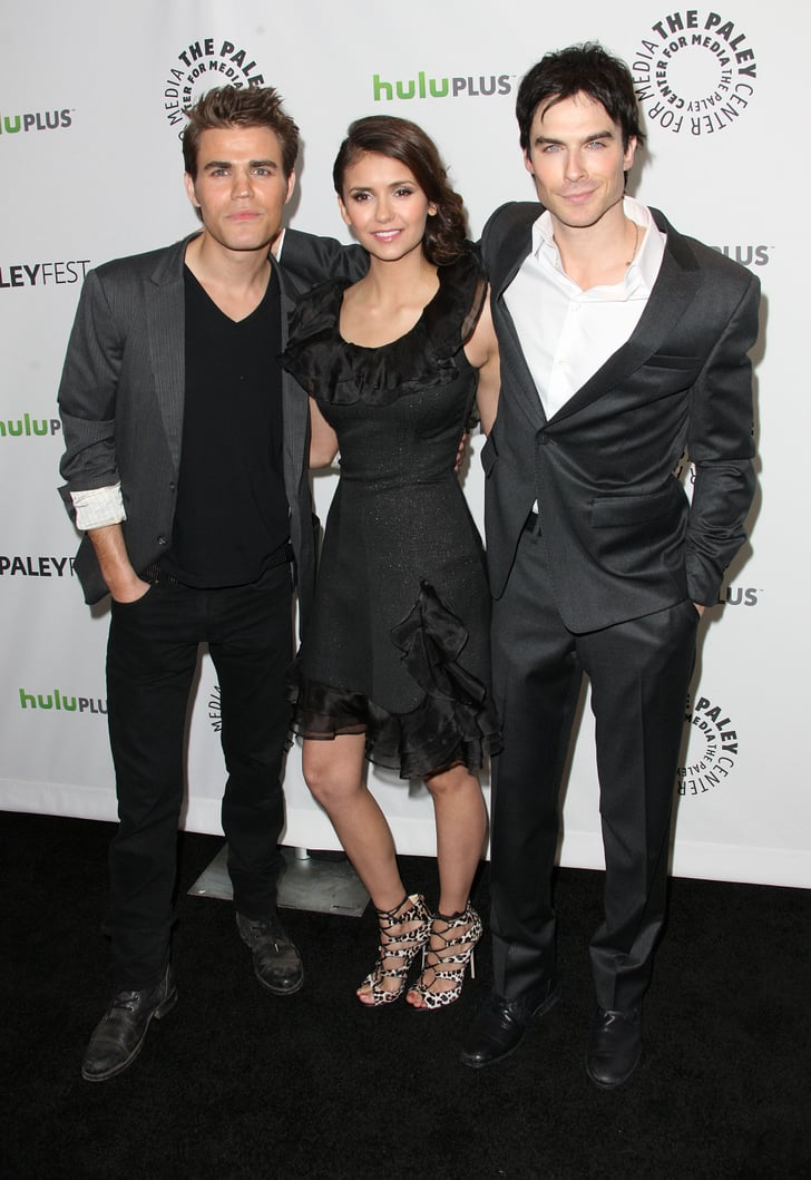 Ian Somerhalder, Nina Dobrev, and Paul Wesley coordinated in their shades of black and gray.